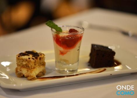 Trio speciale - miniporções de brownie, tiramisù e panna cotta